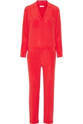 Equipment Blaise Washed Silk Jumpsuit Red