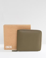 Asos Leather Oversized Zip Around Wallet In Khaki Green