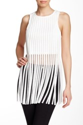 Gracia Sleeveless Fringe Hem Top White