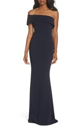 Katie May 'S One Shoulder Cutout Crepe Gown Navy