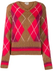 Ballantyne Argyle Knit Jumper Brown
