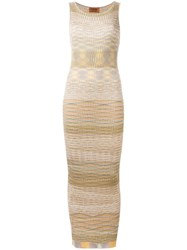 Missoni Vintage Patterned Sleeveless Knit Dress Multicolour