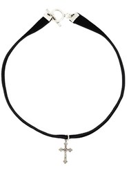 Saint Laurent Cross Pendant Choker Black