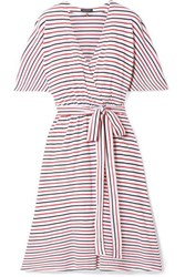 Mds Stripes Rose Striped Cotton Jersey Wrap Dress Red