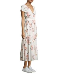 Free People Floral Print Fit And Flare Dress Ivory Multicolor