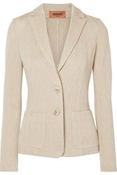 Missoni Crochet Knit Wool Blend Blazer Beige