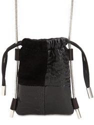 Alexander Wang Ryan Patchwork Suede And Leather Pouch Black