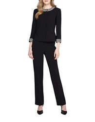 Tahari By Arthur S. Levine Jacket And Pant Suit With Pearl Beaded Trim Black