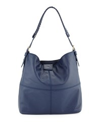 Isabella Fiore Maroquin Leather Hobo Bag Blue