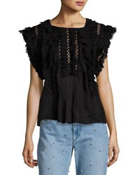 Isabel Marant Nandy Crocheted Lace Tunic Top Black