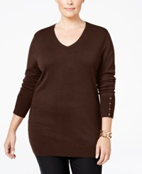Jm Collection Plus Size V Neck Button Sleeve Sweater Only At Macy's Espresso Roast