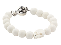 King Baby Studio White Coral Bead Bracelet With White Bone Skull And Silver Clasp