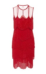 Naeem Khan Sleeveless Flapper Fringe Mesh Neckline Mini Dress Red