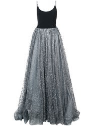 Christian Siriano Glitter Tulle Detail Dress Black