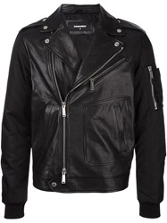 Dsquared2 Bomber Sleeve Leather Jacket Black
