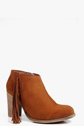 Boohoo Leah Fringe Trim Suede Ankle Boot Tan