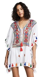 Bindya Lace Up Tunic With Mirror Embroidery White