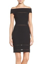 French Connection Lula Mesh Inset Body Con Dress Black