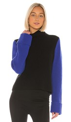 Autumn Cashmere Cuffed Color Block Shaker In Black. Black Jeans And Cobalt