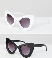 7X 2 Pack Chunky Cat Eye Sunglasses Black White Multi
