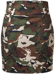 Alexandre Vauthier Camouflage Fitted Skirt Green