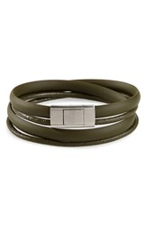 Ted Baker London Mera Leather And Rubber Wrap Bracelet Olive