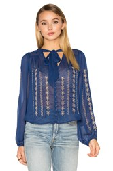 Band Of Gypsies Embroidered Blouse Royal
