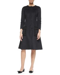 Oscar De La Renta Long Sleeve Wool Cashmere Embellished Dress Black