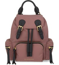 Burberry The Rucksack Small Nylon And Leather Backpack Mauve Pink