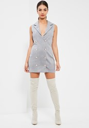 Missguided Grey Bonded Faux Suede Blazer Dress
