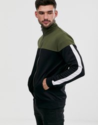 Only And Sons Zip Through Colour Block Sweat In Black