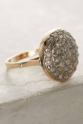Anthropologie Pave Diamond Cocktail Ring Gold