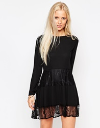 D.Ra Wool Mix Long Sleeve Dress With Lace Hem Black