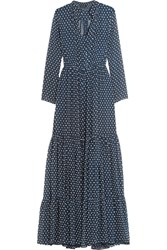 Saloni Alexia Swiss Dot Chiffon Maxi Dress Blue