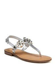 Fergie Mariana Metallic Leather T Strap Sandals Silver