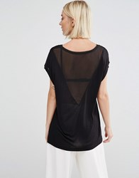 Selected Niva T Shirt With Sheer V Back Black