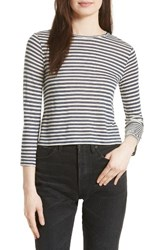 Vince Women's Midi Stripe Crop Tee Natural Black