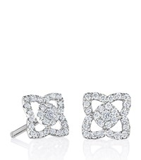 De Beers Small White Gold Enchanted Lotus Stud Earrings Silver