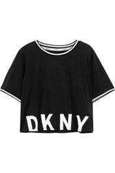 405b16df7e Dkny Printed Cotton Blend Jersey Pajama Top Black