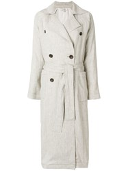 Isa Arfen Belted Double Breasted Coat Nude And Neutrals