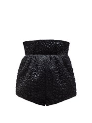 Saint Laurent High Rise Croc Effect Smocked Satin Shorts Black