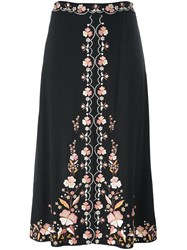 Vilshenko Floral Embroidered Skirt Black