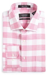 Nordstrom Men's Big And Tall Men's Shop Trim Fit Check Linen And Cotton Dress Shirt Pink Ibis
