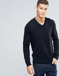 Boss Orange Albino Vneck Jumper Merino Blend Black