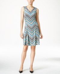 Jm Collection Petite Embellished Neck Sleeveless Dress Only At Macy's Multi Cheveron
