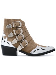 Toga Pulla Metallic Embellished Boots Brown