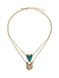 Alexis Bittar Sport Deco Lucite And Crystal Fringe Double Strand Pendant Necklace Gold Aqua