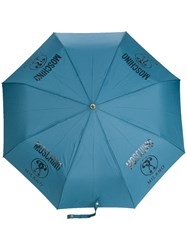 Moschino Logo Printed Umbrella Blue