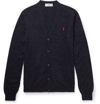 Ami Alexandre Mattiussi Embroidered Wool Cardigan Navy