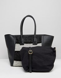 Silvian Heach Large East West Shopper With Woven Monochrome Panel Black White